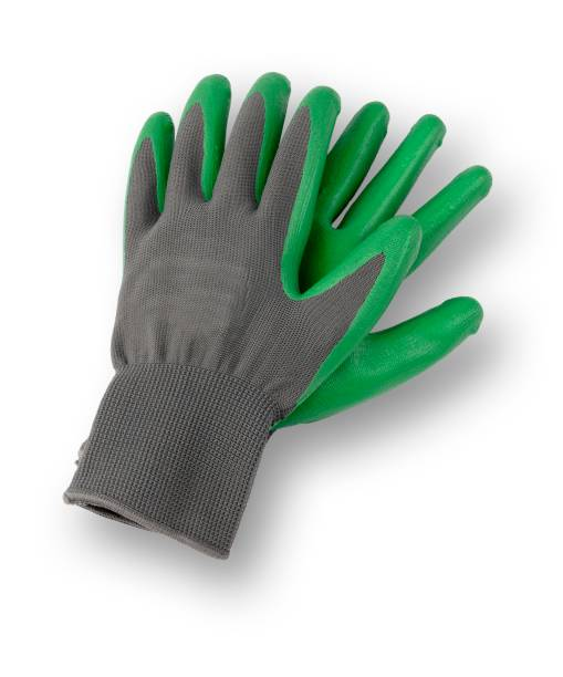 isolated image of a pair of gardening gloves - protective glove stock pictures, royalty-free photos & images