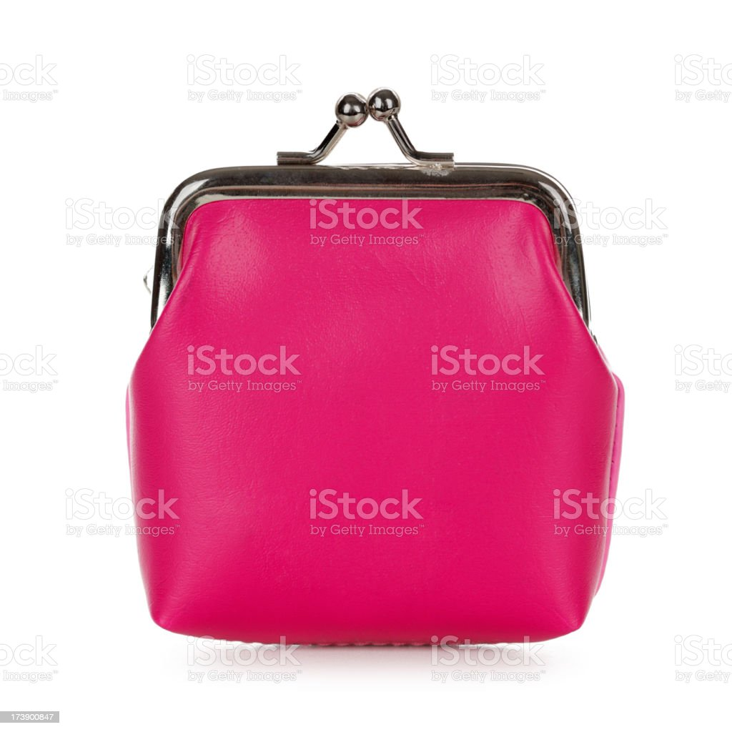 Isolated image of a pink purse on a white background stock photo