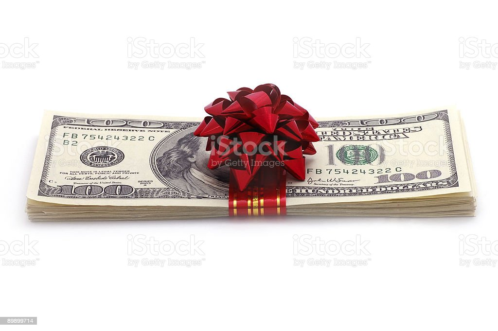 Isolated image of a stack of hundred dollar bills with a bow stock photo