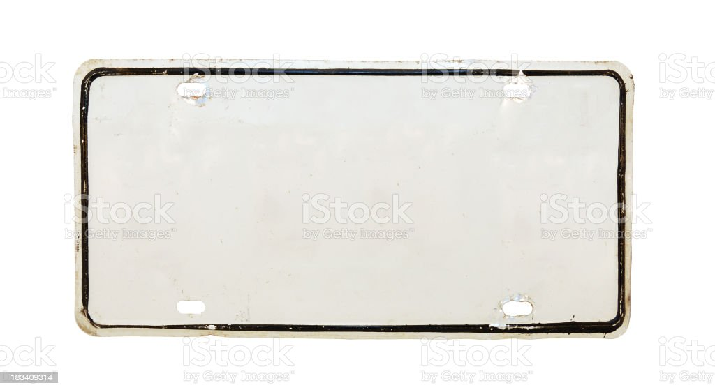 Isolated image of a white empty license plate stock photo