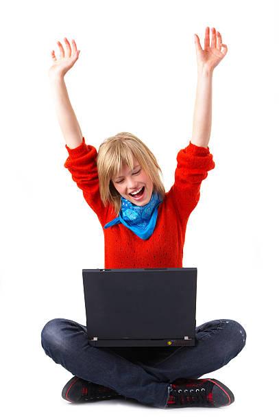 Isolierte Bild von einer jungen Frau mit Ihrem laptop – Foto