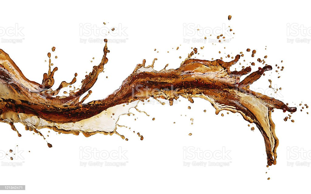 Isolated image of cola splash across a white background