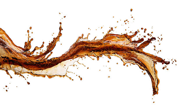 isolated image of cola splash across a white background - soda pop stock photos and pictures