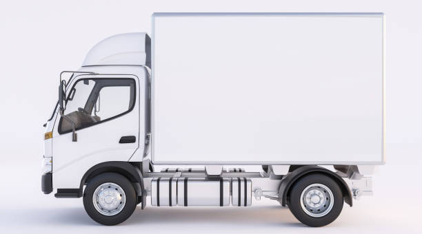 Isolierte Bild der Lieferwagen in weißer Farbe – Foto