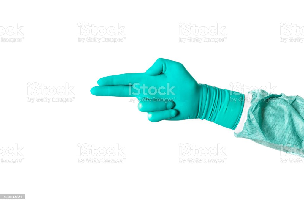 Isolated image of doctors hand in green latex glove ready for gynecologic examination stock photo