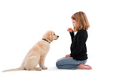 A young girl training her puppy.
