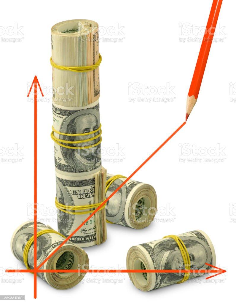 isolated image of graphic on money background closeup stock photo