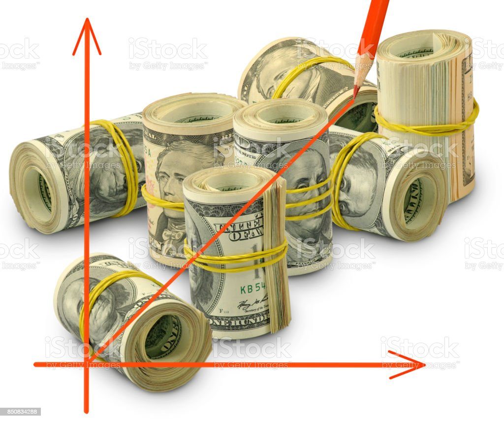 isolated image of graphic on money background close-up stock photo