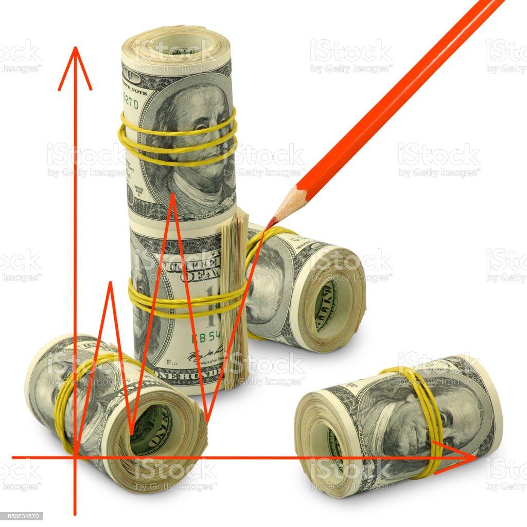 isolated image of graphic on money background stock photo