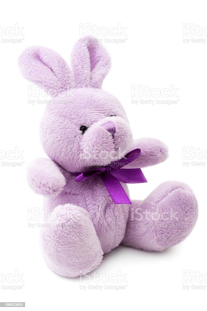 Isolated image of lilac stuffed rabbit on white background stock photo