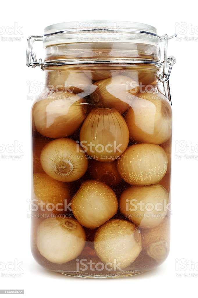 Isolated image of pickled onions in a jar stock photo