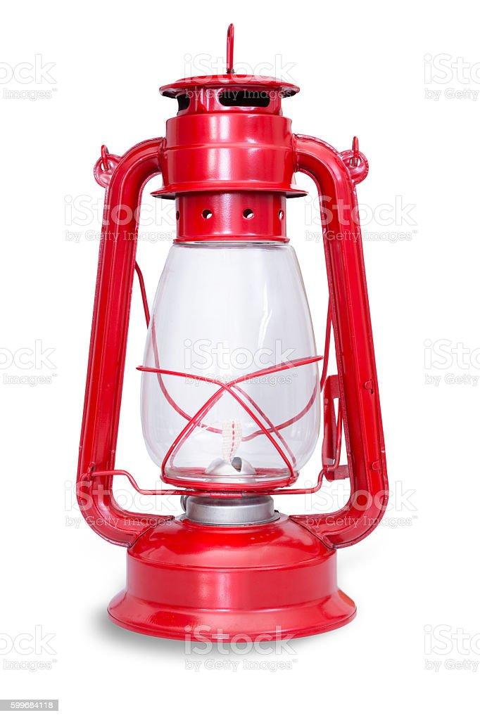 Isolated image of red kerosene lantern with glass stock photo