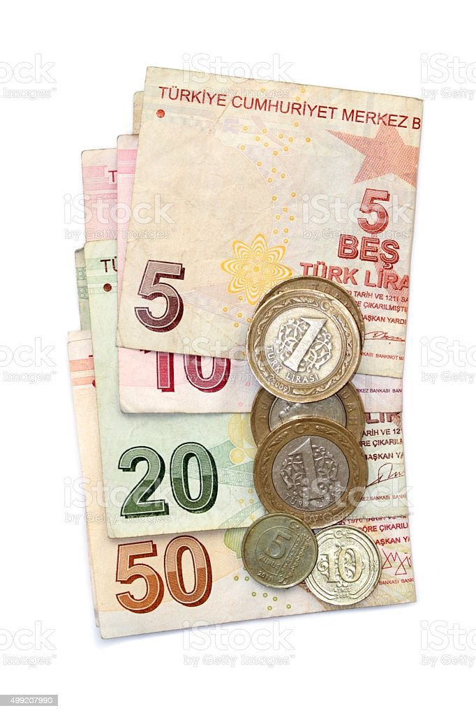 isolated image of Turkish lira coins and folded notes stock photo
