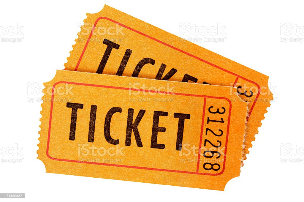 Isolated image of two orange admission tickets stock photo