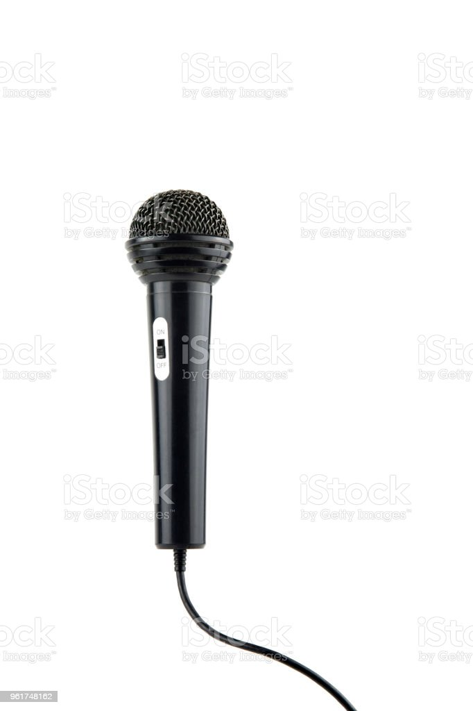 black microphone with cable and on-off switch