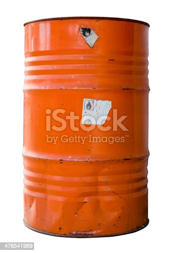 Isolated Oil Drum Or Barrel Of hazardous Waste WIth Warning Labels