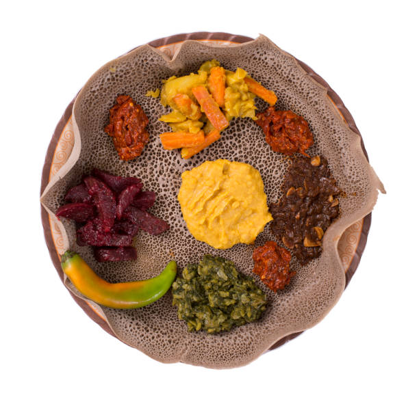 isolated injera bread meal. - eritrea stock photos and pictures