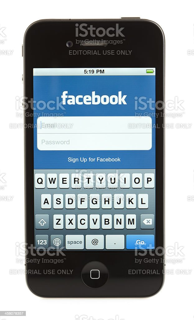 Isolated iPhone 4 - Facebook royalty-free stock photo