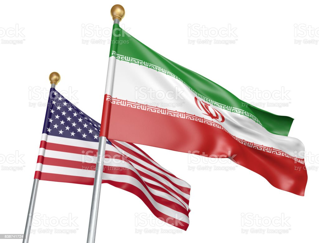 Isolated Iran and United States flags flying together for diplomatic talks and trade relations stock photo
