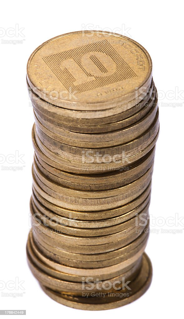 Isolated Israeli 10 Agorot Coin Stack stock photo