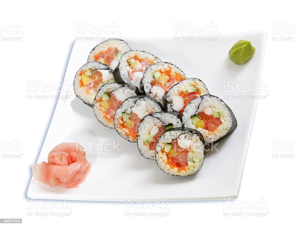 isolated japanese food - rolls royalty-free stock photo