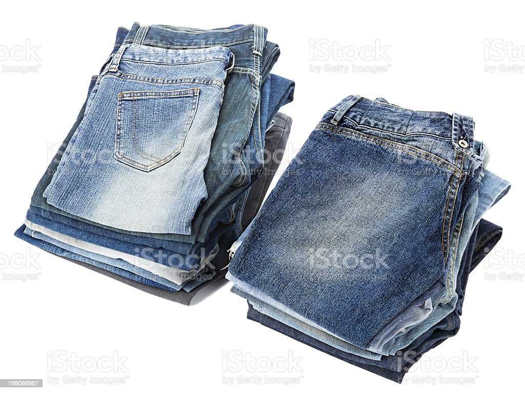 Isolated Jeans Stacks stock photo