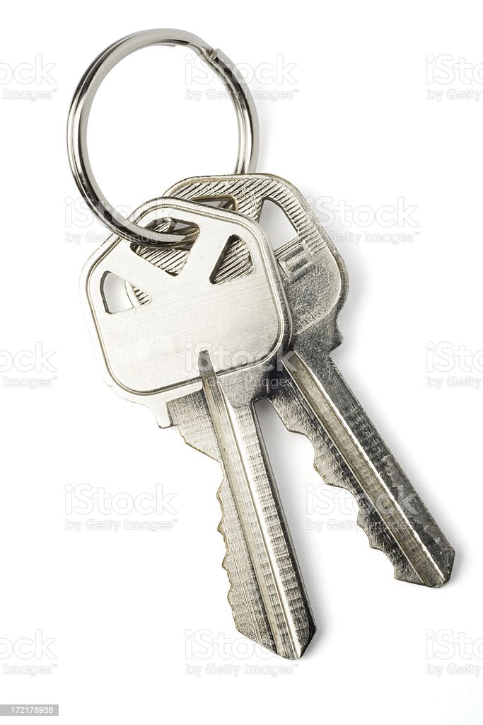 Isolated Keys on White with Clipping Path stock photo
