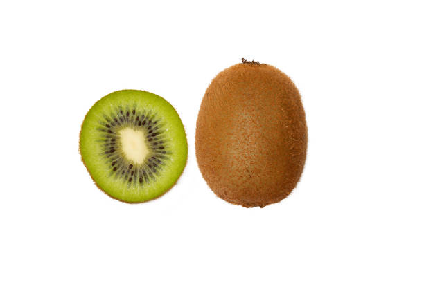 isolated kiwi slice on white background. - kiwi imagens e fotografias de stock