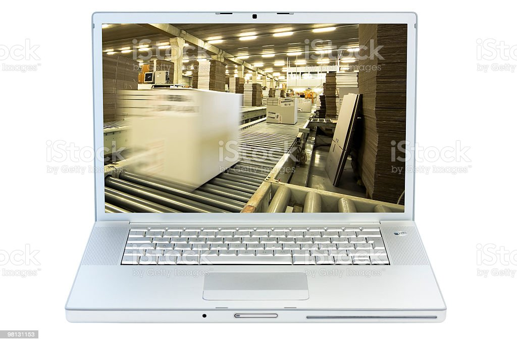 Isolated laptop with warehouse on screen royalty-free stock photo