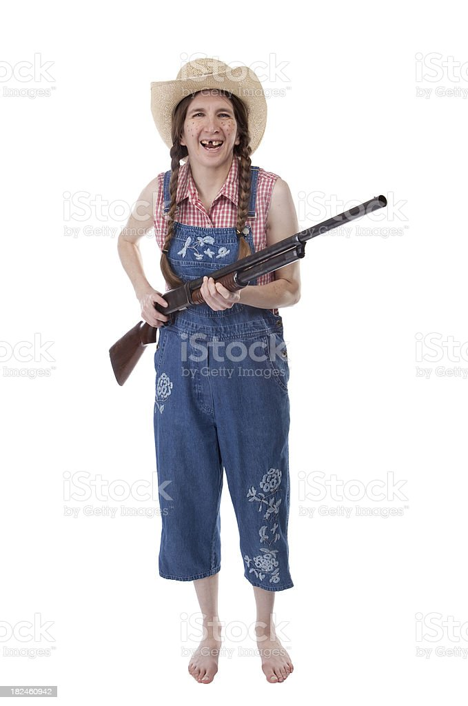 Isolated Laughing Redneck Woman With Shotgun stock photo