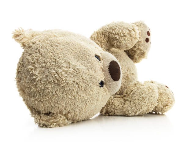 Isolated Laying Teddy Bear stock photo