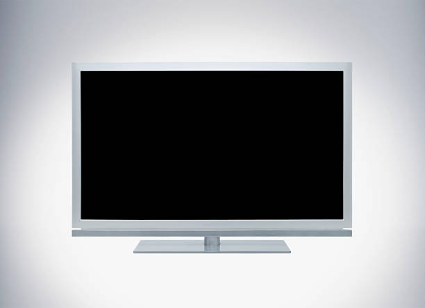 isolated lcd tv on white background stock photo