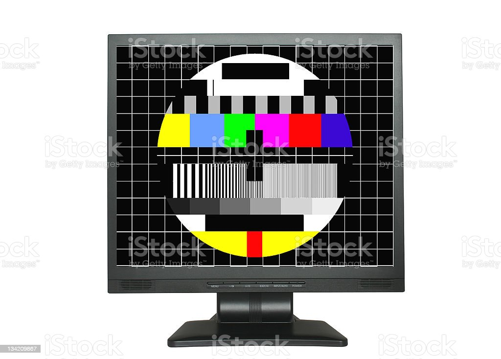 isolated LCD with test screen stock photo