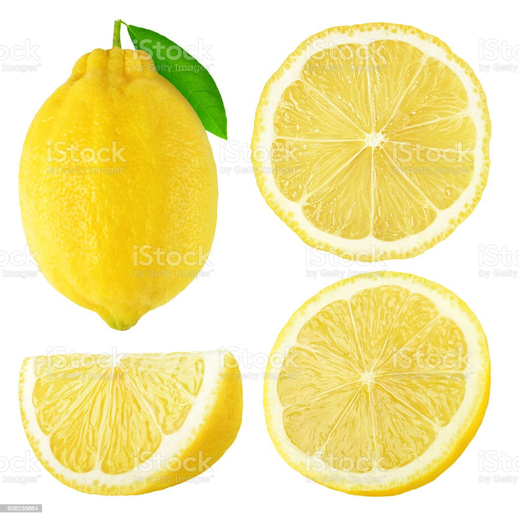 Isolated lemon fruits collection stock photo