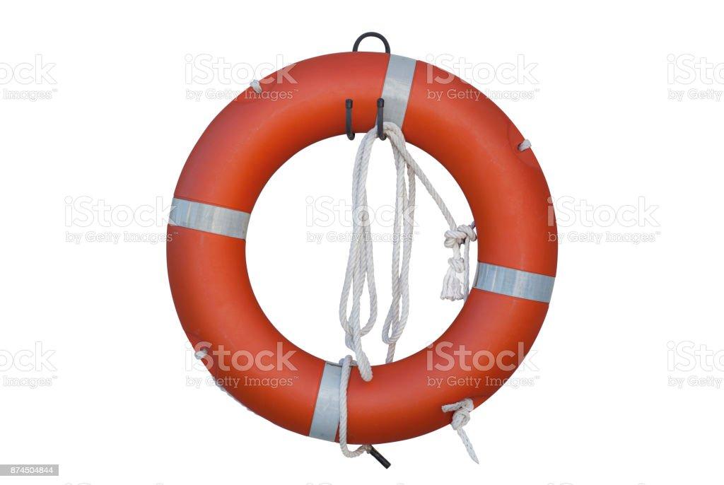 Isolated Lifebuoy Or Life Preserver With Rope On White Background stock photo