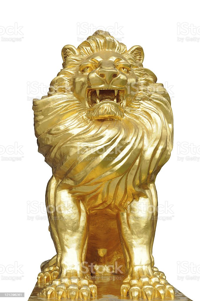 Isolated lion statues stock photo