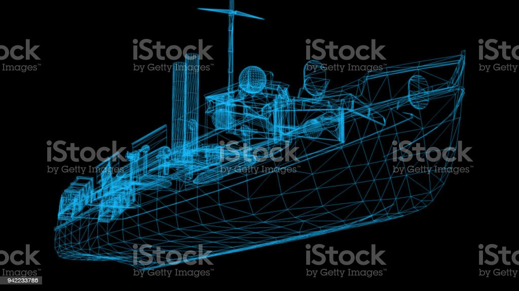 Isolated Low Poly graphic design of  boat-3d rendering stock photo