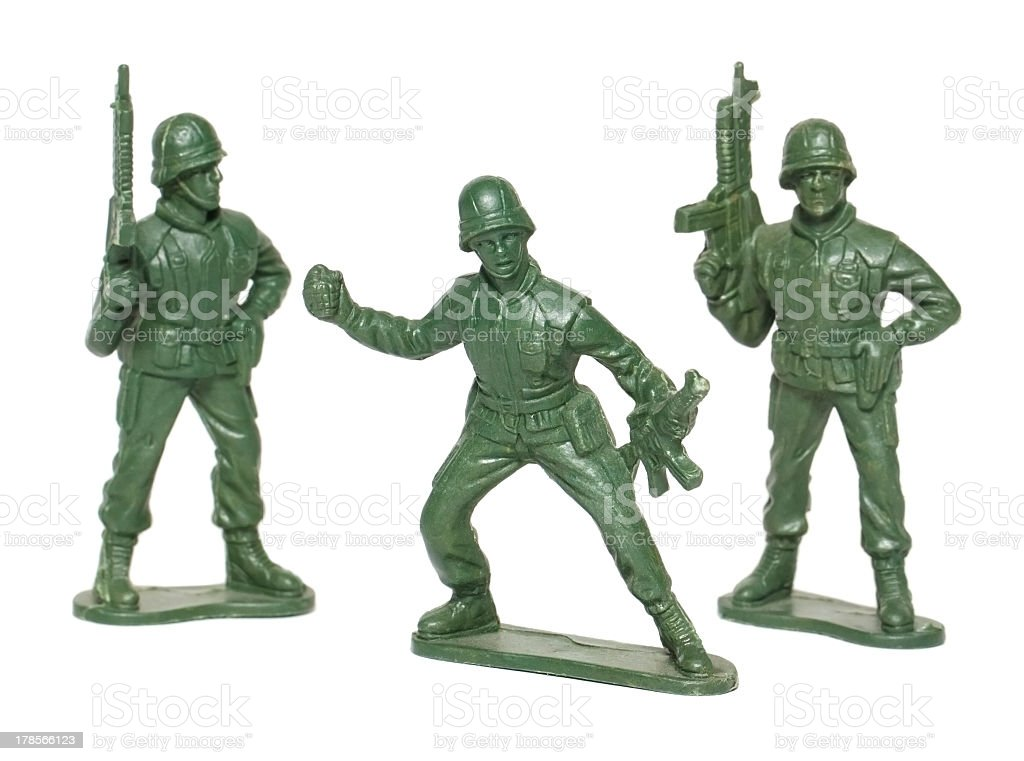 isolated macro toy soldiers stock photo
