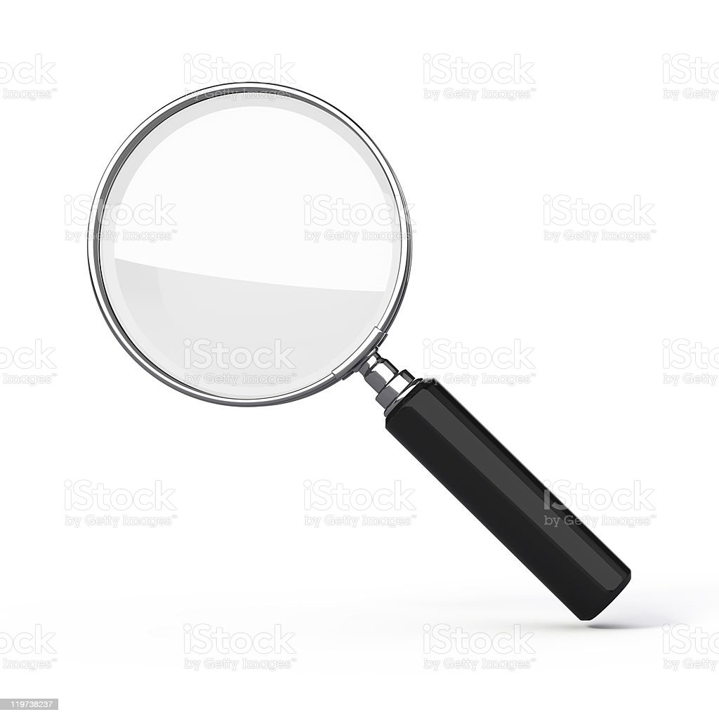 Isolated magnifying glass in a white background stock photo