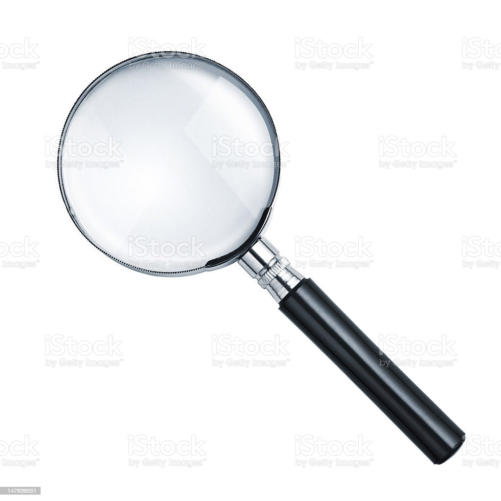 Isolated magnifying glass on white background stock photo