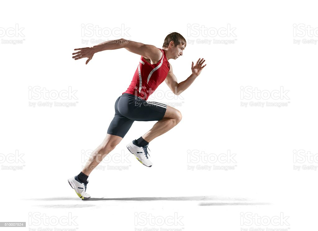 Isolated male athlete stock photo