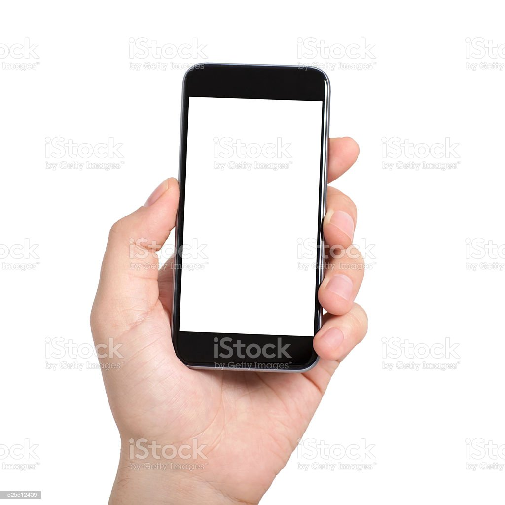Isolierte männliche hand, die ein Handy mit weißer Bildschirm – Foto