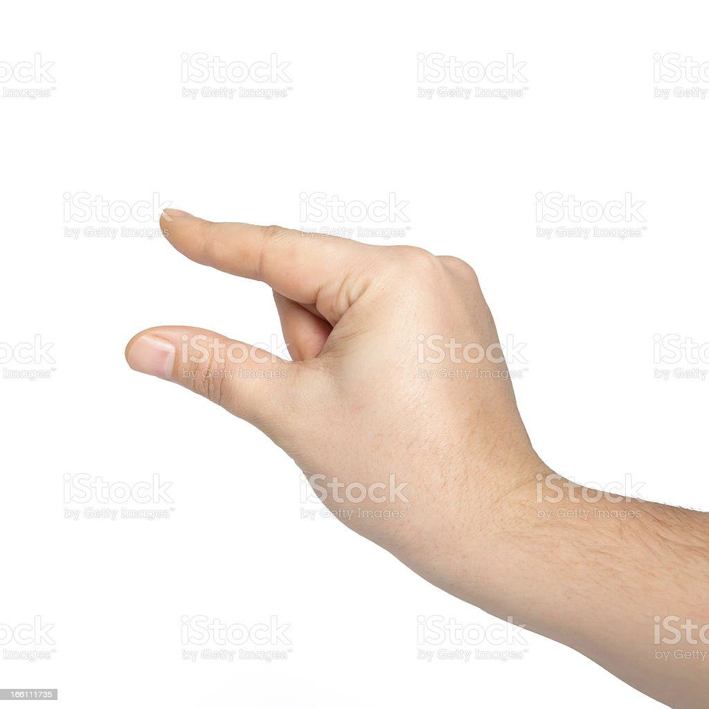 isolated male hand holding an object stock photo