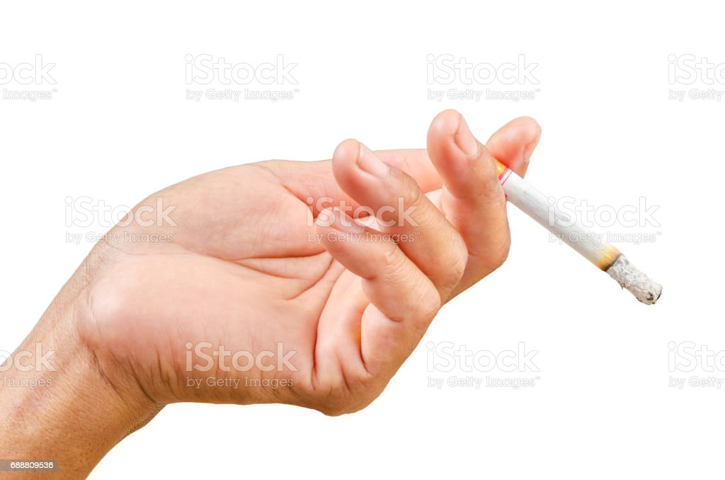 Isolated man hand holding cigarette stock photo