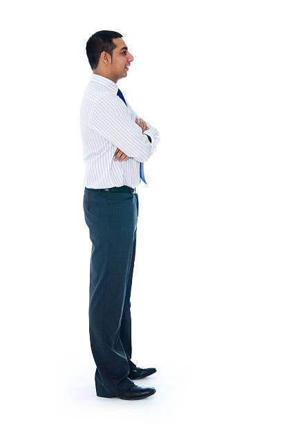 Isolated Man on White Side or Profile VIew stock photo