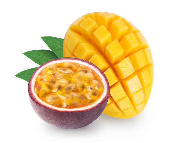 isolated mango and passion fruit - passiflora foto e immagini stock