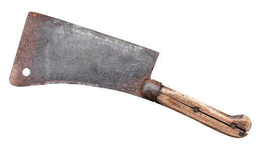 Isolated Old Fashioned Meat Cleaver Or Hatchet Knife On A White Background