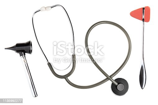 An isolated stethoscope, reflex hammer and otoscope.