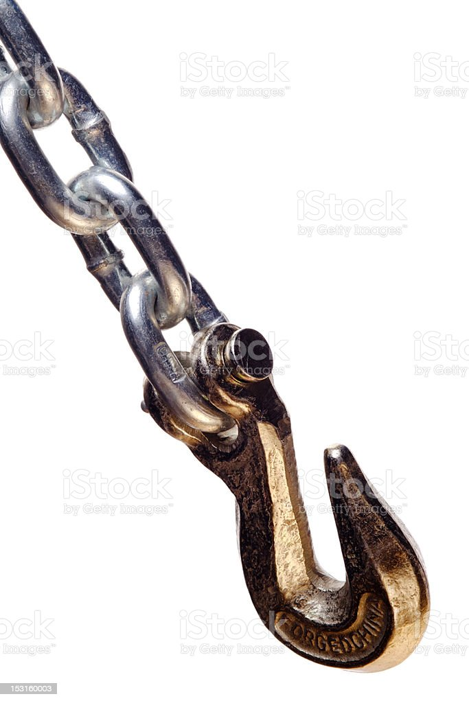 isolated metal chain and hook stock photo