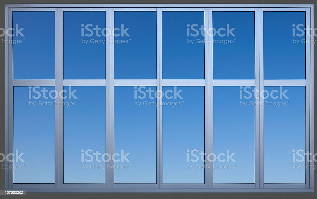 Isolated Metal Framed Paneled Office Window with Clipping Path stock photo